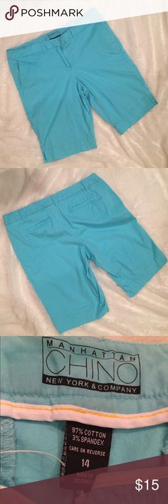 New York & Co Bermuda Shorts Summer will be here before you know it!  Now's the time to start stocking up on wardrobe essentials! Like these aqua chino Bermuda shorts with Button, hook and eye and zipper closure, plus pockets. Barely worn, if at all. I also have these same shorts in red if you're interested. Size 14. New York & Company Shorts Bermudas