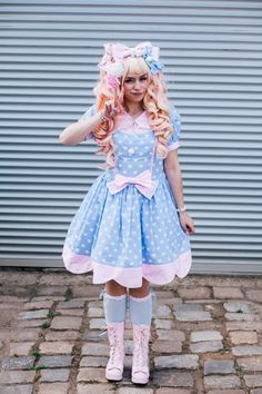Pastel blue Sweet Lolita dress by MademoiselleOpossum on Etsy, €139.90