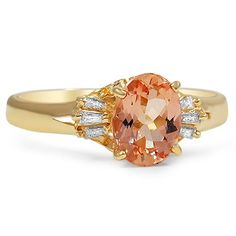 The Evelina Ring  Oval Imperial Topaz and Three Diamond Baguette Accents 14K Yellow Gold Edwardian 1910s