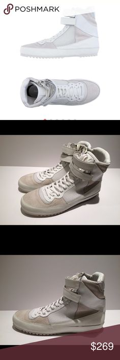 """New CoStume National High Top Sneaker (Men's) New CoStume National Leather & Textile High Top Sneaker.  Color: White.  Size: 44EU/11 US in Men's.  Outsole measurement: 11.75""""; width 4"""".  With minor dust stains from handing.  Box not included. Costume National Shoes Sneakers"""