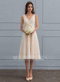A-Line/Princess V-neck Knee-Length Lace Wedding Dress With Bow(s) (002121440)