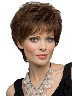 Dynamic Feeling from Capless Short Wavy Brown Indian Remy Hair Wigs Haircut For Square Face, Square Face Hairstyles, Wig Hairstyles, Layered Hairstyles, Hairstyles 2016, Women's Human Hair Wigs, Remy Hair Wigs, Short Hair Cuts, Short Hair Styles