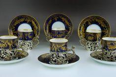 Espresso cups with silver holders in original case, Birmingham