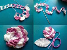 Do not miss these 34 magnificent flower patterns in crochet, with step by step tutorial. The crochet flowers are very useful … Read more. Diy Crochet Flowers, Crochet Diy, Crochet Motifs, Knitted Flowers, Crochet Flower Patterns, Love Crochet, Irish Crochet, Crochet Crafts, Yarn Crafts