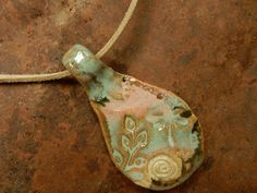Stoneware pottery clay rustic pendent  primitive by AtHomeInTaos