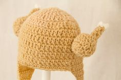 Chicken Viking Earflap Hat, Tan Crochet Beanie