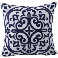 Navy Block Embroidered Medallion Decorative Pillow, from Better Homes and Gardens at Walmart