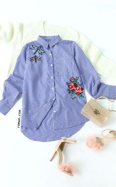 Blue Vertical Striped Flower Embroidery High Low Blouse
