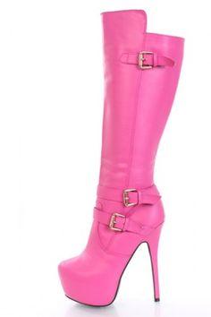 FUSHIA 7 Faux LEATHER Boots HOT PINK Stripper PLATFORM 3 buckle POLE CLUBWEAR