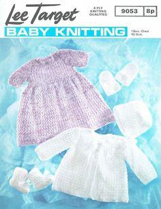Lee Target 9053 baby dress matinee coat set vintage knitting pattern | Knitting and Crochet patterns