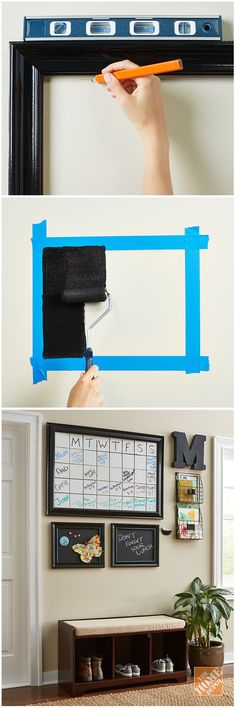 Get organized with dry-erase and chalkboard paint! Rust-Oleum makes it easy to paint a whiteboard or chalkboard directly onto your wall. The tutorial has the steps you'll need to tackle this simple DIY project. Family Command Center, Command Centers, Diy Home Decor, Room Decor, Ideas Para Organizar, Easy Diy, Simple Diy, Fun Diy, Family Organizer