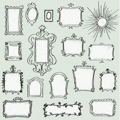 Doodle Frames Clip Art Pack - Set of 17 Unique Hand-drawn Frames for Scrapbooking, Websites, Logos, Banners & More