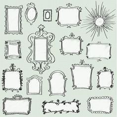 Doodle Frames Clip Art Pack - Set of 17 Unique Hand-drawn Frames for Scrapbooking, Websites, Logos, Banners & More