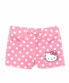 This Fuchsia Polka Dot Hello Kitty Shorts - Toddler & Girls by Hello Kitty is perfect! #zulilyfinds
