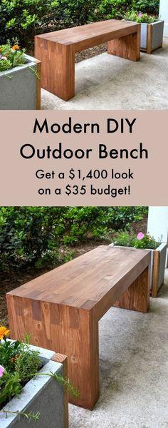 Ce banc de bricolage facile moderne a été faite avec 35 $ de matériaux - et utilise pas de clous ou de vis! Ressemble juste un un Williams Sonoma pour 1400 $. Ne serait-ce fière allure dans votre jardin?