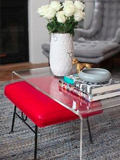 acrylic coffee table with pop of color I love the pop of color and the mix of styles-contemporary with mid-century modern.