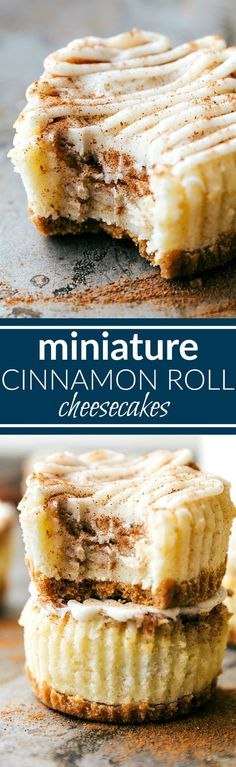 The BEST DESSERT! Miniature cinnamon roll cheesecakes with a delicious cinnamon swirl and cream cheese frosting topping! Via chelseasmessyapron.com
