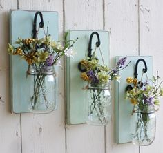 NEW...Rustic Farmhouse... Wood Wall Decor...Individual Hanging Mason Jars...Your…