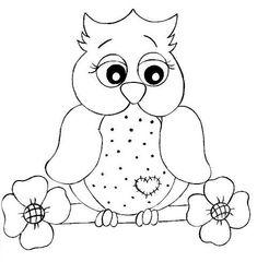 Love this adorable owl, lots of ideas. Owl Templates, Applique Templates, Applique Patterns, Quilt Patterns, Colouring Pages, Coloring Sheets, Coloring Books, Motifs D'appliques, Owl Applique