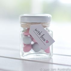 144 mini 50ml square glass jars White lids by JustJarsAustralia