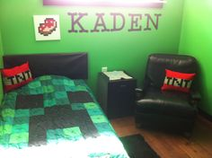 Minecraft bedroom for my nephew! Creeper quilt, TNT pillows, pork chop art - so cute!