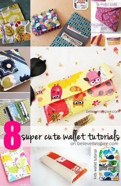 8 super cute wallet tutorials on sewsomestuff.com. Looking for wallet ideas? Here's a list of wallet tutorials that you can practice your sewing skills on. Perfect for all level of sewists. Even includes kids wallets. Check out now!