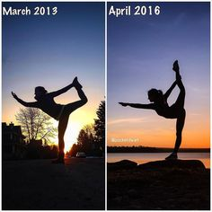 Thought it was time for a progress shot... The picture on the left was the very first dancer I took a picture of. I remember that night so clearly. I was wobbling all over the place trying to find my balance. And then soooo excited when I saw the pic - I felt like a dancer. And the picture on the right is my most recent shot of dancer. I started doing yoga 3 years ago and have spent hour and hours practicing. I am not naturally flexible and have had to work so hard to get to where I am…