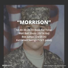 """MORRISON"" CROSSFIT HERO WOD: 50-40-30-20-10 Reps For Time: Wall Ball Shots (20/14 lbs); Box Jumps (24/20 in); Kettlebell Swings (1.5/1 pood)"