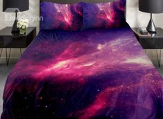 Fantastic Red Nebula Print 4-Piece Duvet Cover Sets on sale, Buy Retail Price Galaxy Bedding at Beddinginn.com