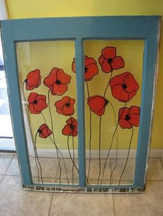Painting on old window...i knew i saved those old wood windows for a reason