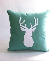 Deer Pillow in Sea Green. By regansbrain via Etsy.