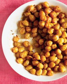 Oscars Party Food: Chickpeas, once roasted, take on the flavor and texture of nuts, making them a fun snack with drinks. Prepare the simple appetizer in under 15 minutes for the perfect red carpet viewing party.