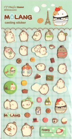 Kawaii Korean Sticker Sheet Assort: Rare Puffy Molang Green Paris French Bunny Character Stickers for Diy Decoration Planner Schedule Book