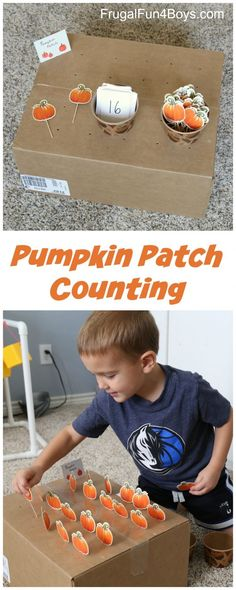 Pumpkin Patch Fine Motor and Counting Game - Frugal Fun For Boys and Girls