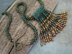 Stunning Spiral Weave Beaded Necklace with Fringed Pendant                  FREE SHIPPING USA