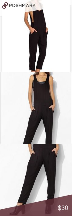 BB Dakota (Urban Outfitters) black jumpsuit Beautiful black jumpsuit from Urban Outfitters. Super comfortable, great for layering - perfect for a casual work outfit and easy to dress up. Barely worn. BB Dakota Pants Jumpsuits & Rompers