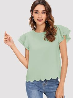 SheIn offers Layered Ruffle Sleeve Scallop Hem Top & more to fit your fashionable needs. Flutter Sleeve Top, Ruffle Sleeve, Fashion News, Fashion Outfits, Mens Fashion, Pastel Fashion, Plain Tops, Scalloped Hem, Summer Shirts