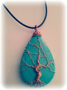 Tree of Life copper wire wrapped natural Turquoise pendant on Etsy, $20.00
