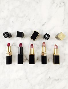 fall lipsticks Aimee Song of Style Fall Lipstick / From Left to Right: Chanel Rouge – Coco Gabrielle 444 Nars Audacious Lipstick Janet Tom Ford Lip Color – Casablanca 03 Chanel Rouge Coco – Adrienne 402 Tom Ford Lip Color – Pink Dust 07 Fall Lipstick, Chanel Lipstick, Tom Ford Lipstick, All Things Beauty, Beauty Make Up, Hair Beauty, Makeup Mascara, Eyeliner, Coral Pink Lipstick