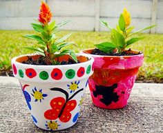 Pretty Painted Flower Pots