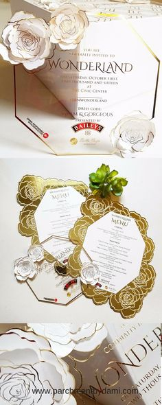 Acrylic Invitation with flower applique & Gold Mirror and foil oversize menu  #acrylic #mirror #menu