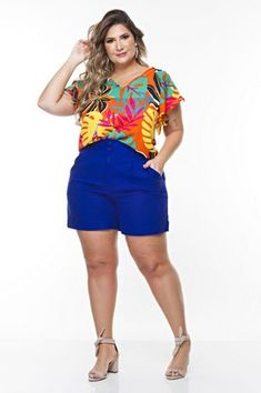 Blusa Plus Size Kelis Summer Outfits, Casual Outfits, Casual Wear, Kids Outfits, Plus Size Shorts, Plus Size Outfits, Crochet Top Outfit, Plus Size Looks, Vestidos Plus Size