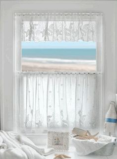 "Coastal Lace Seahorse Curtains - Seahorse, Starfish and Seashells. Machine washable. Tier and valance 60""w is $64."