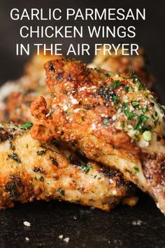 Garlic Parmesan Wing Sauce, Baked Garlic Parmesan Chicken, Garlic Chicken Wings, Crispy Chicken Wings, Air Fryer Chicken Wings, Tandoori Chicken, Air Fryer Wings, Chicken Drumsticks, Chicken Wings Airfryer