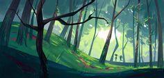 Art background Forest Backgrounds by French artist Cécile Carre > beautiful use of color Forest Backgrounds by French artist Cécile Carre > beautiful use of color Forest Background, Background Drawing, Cartoon Background, Animation Background, Landscape Concept, Fantasy Landscape, Landscape Art, Landscape Paintings, Japon Illustration