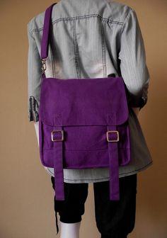 Love this!  Canvas messenger bag / 14 oz purple canvas / by kormargeaux, $35.00