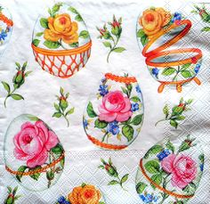 4 Single Vintage Table Paper Napkins, Lunch, for Decoupage, Easter 1, Decopatch
