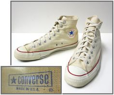 1960's Vintage Converse Chuck Taylor All Star High Top Canvas Mens Sneaker Size 11 Made in USA by schippervintage, $170.00