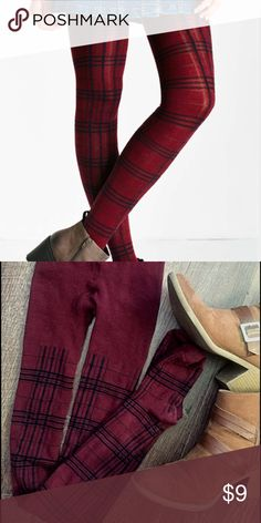 """Urban Outfitters Plaid Sweater Tight Super soft Urban Outfitters Plaid Sweater Tights size XS. These work best for someone petite-I am 5""""1 for example. Excellent used condition. I have only worn them once. No stains or holes. These are somewhat sheer like shown on model. Color is Berry- it looks like a deep maroon purple- not as red in person as it is on the model in the picture. Urban Outfitters Accessories Hosiery & Socks"""