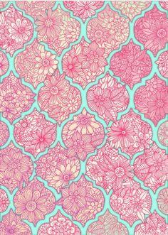 Love this take on the quatrefoil surface pattern design, pattern art, fabric patterns, L Wallpaper, Pattern Wallpaper, Surface Pattern Design, Pattern Art, Backgrounds Wallpapers, Art Rose, Quatrefoil Pattern, Pink Art, Pink Blue